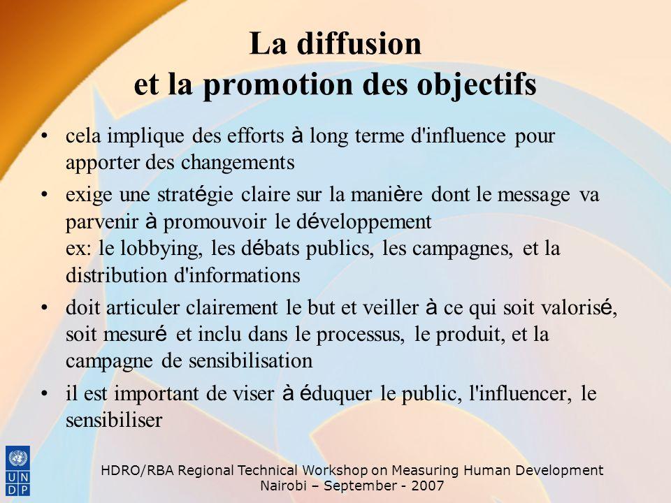 La diffusion et la promotion des objectifs