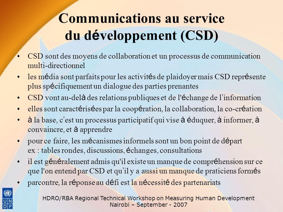 Communications au service du développement (CSD)