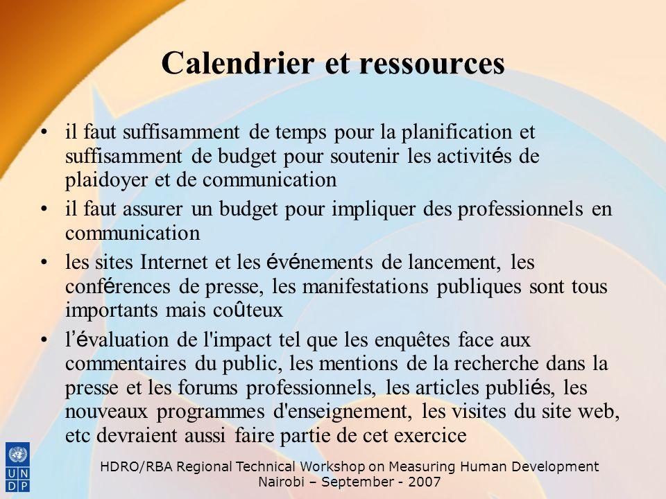 Calendrier et ressources