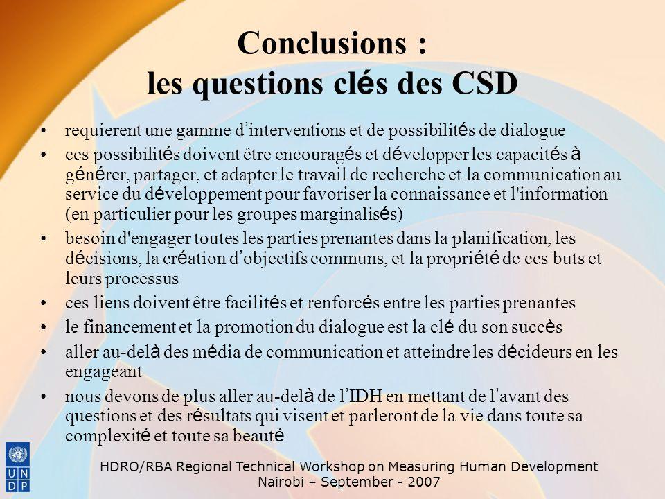 Conclusions : les questions clés des CSD