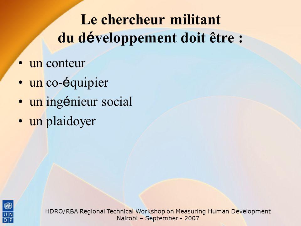Le chercheur militant du développement doit être :