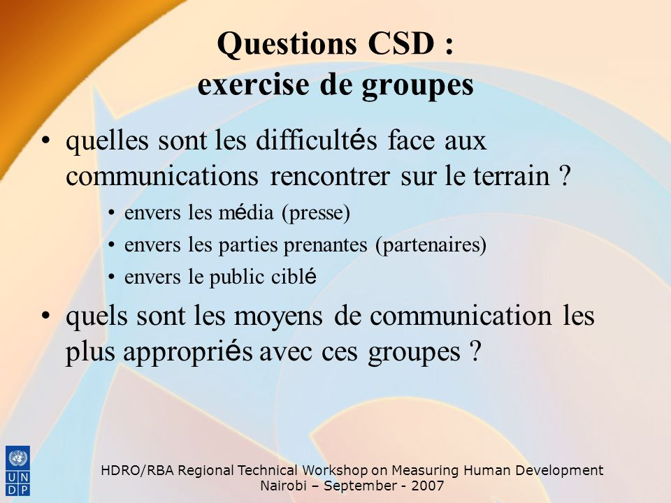 Questions CSD : exercise de groupes