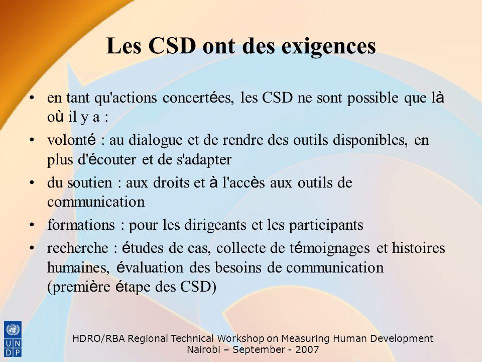 Les CSD ont des exigences