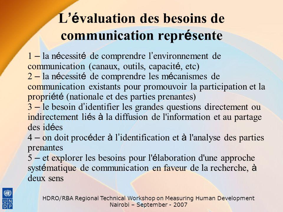 L'évaluation des besoins de communication représente