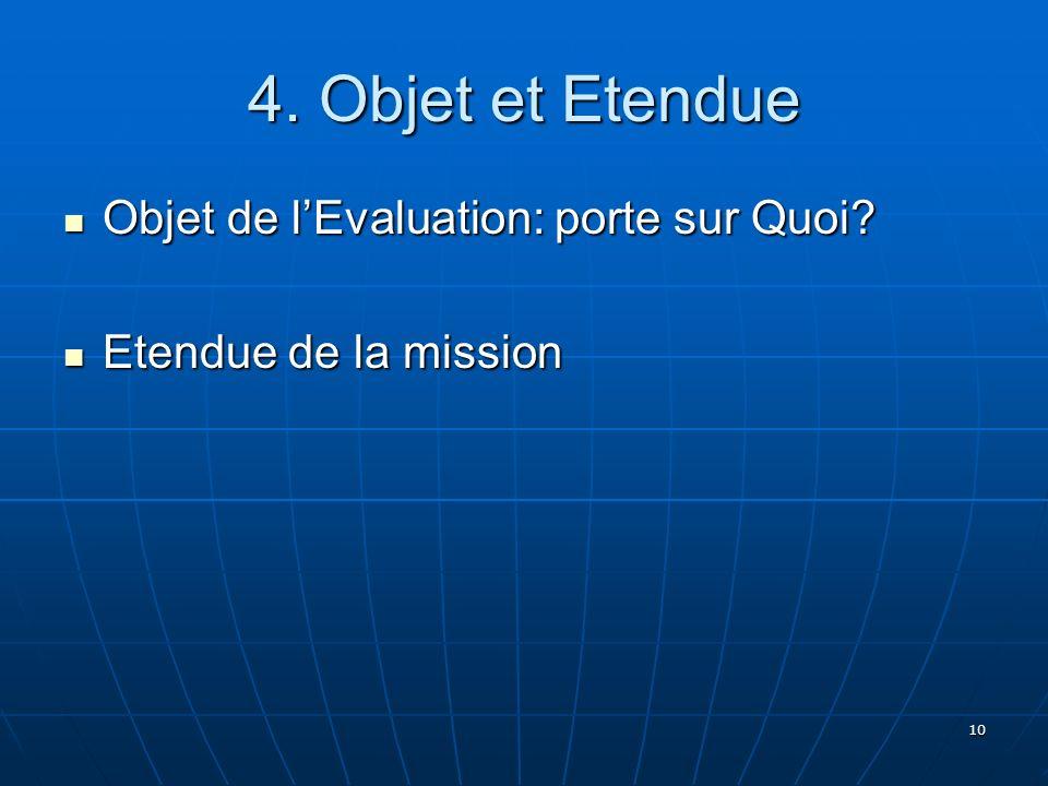 4. Objet et Etendue Objet de l'Evaluation: porte sur Quoi