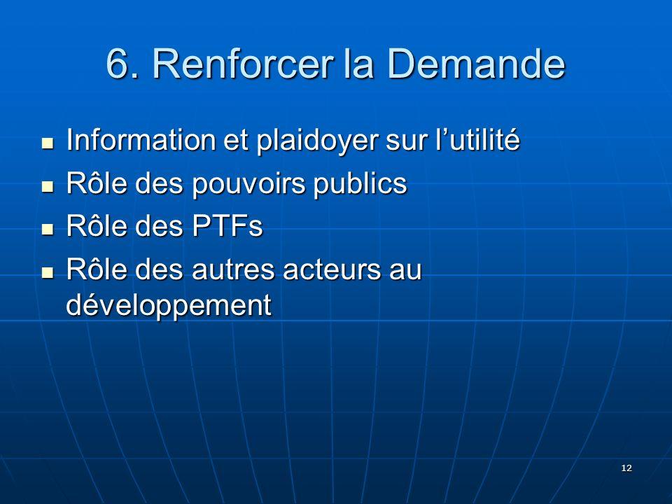 6. Renforcer la Demande Information et plaidoyer sur l'utilité