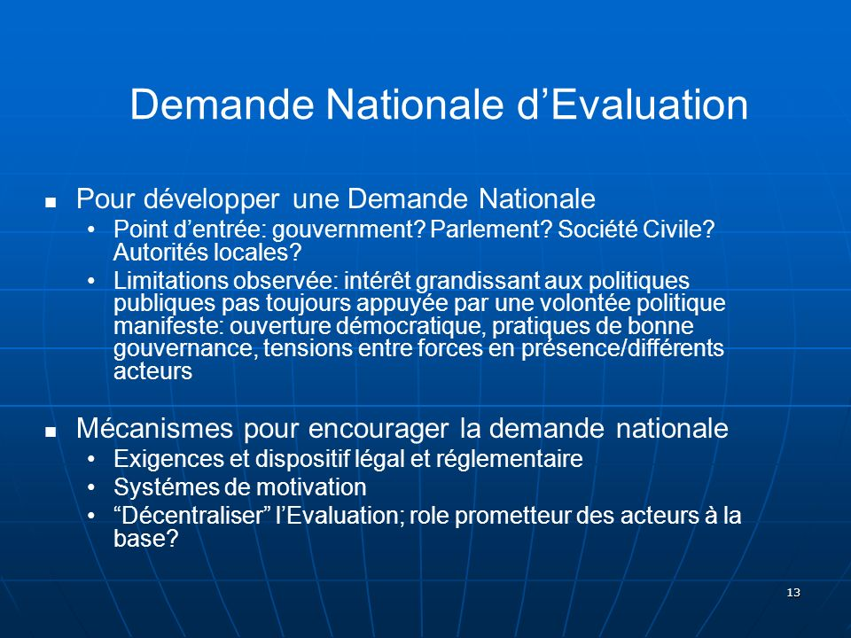 Demande Nationale d'Evaluation