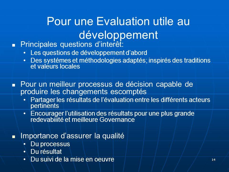Pour une Evaluation utile au développement