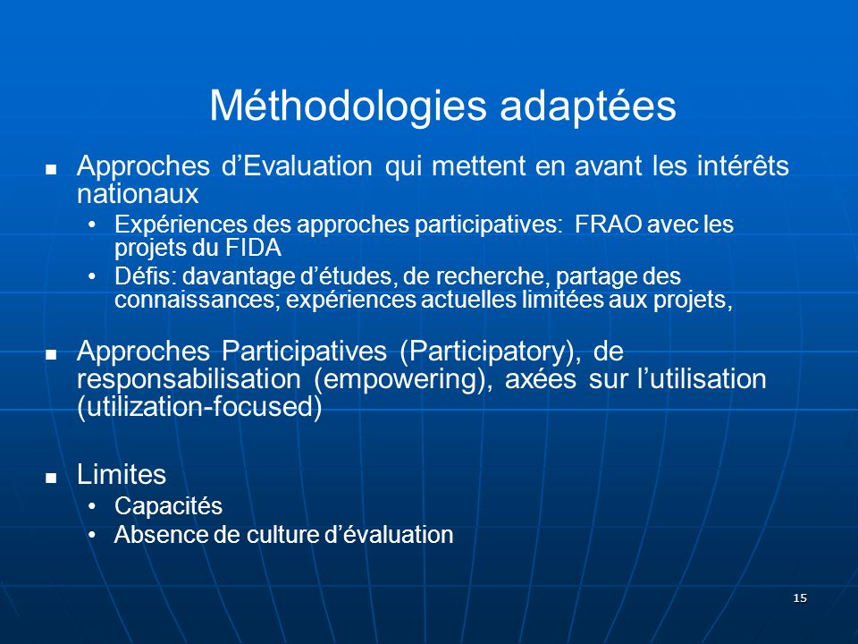 Méthodologies adaptées