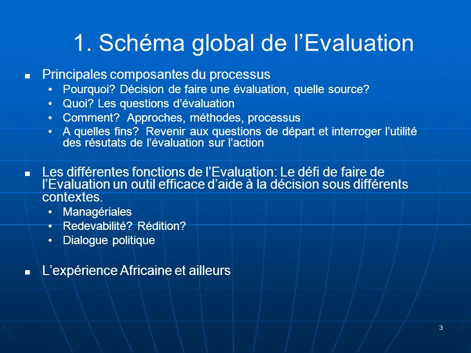1. Schéma global de l'Evaluation