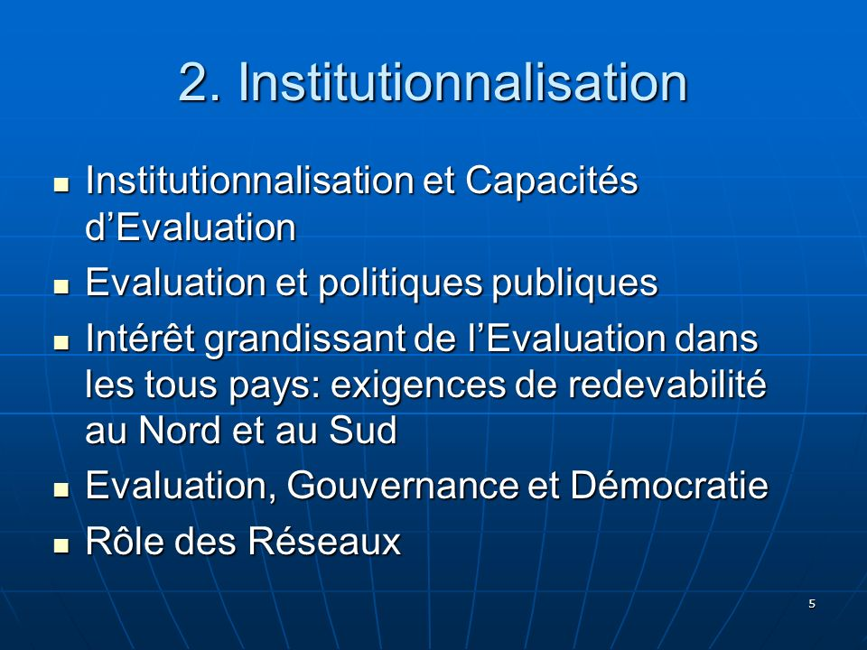 2. Institutionnalisation