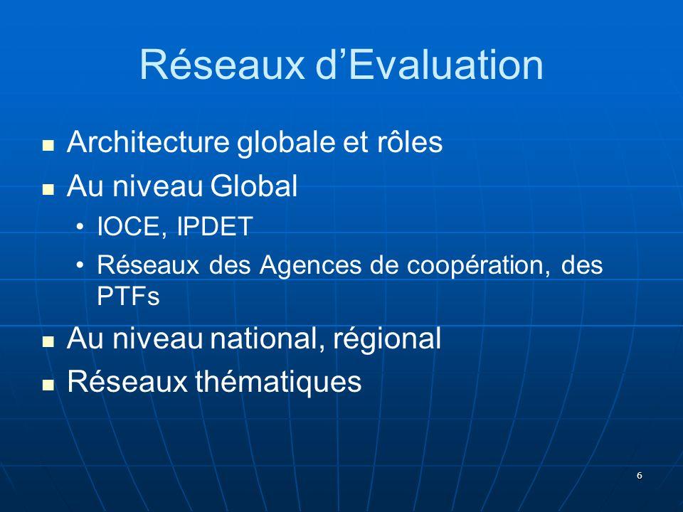 Réseaux d'Evaluation Architecture globale et rôles Au niveau Global