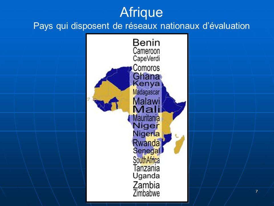 Afrique Pays qui disposent de réseaux nationaux d'évaluation