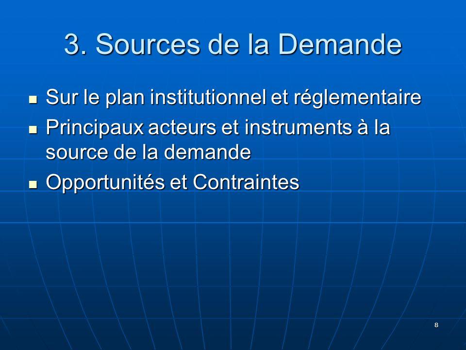 3. Sources de la Demande Sur le plan institutionnel et réglementaire