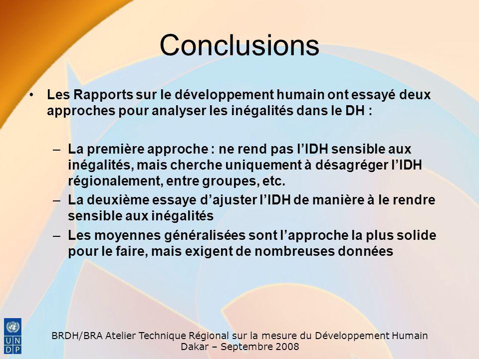 Conclusions Les Rapports sur le développement humain ont essayé deux approches pour analyser les inégalités dans le DH :