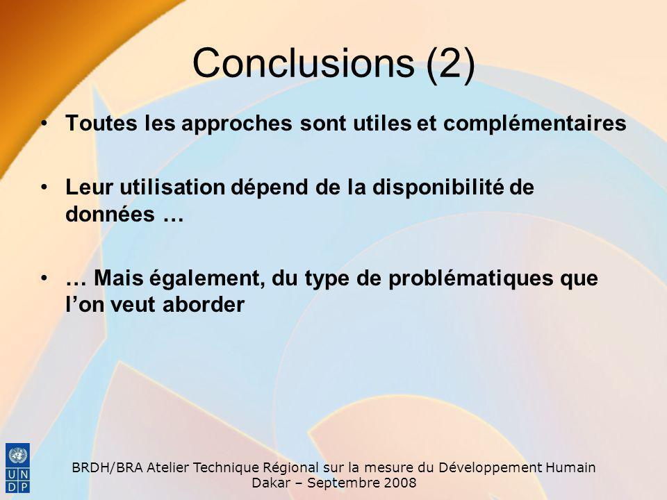 Conclusions (2) Toutes les approches sont utiles et complémentaires