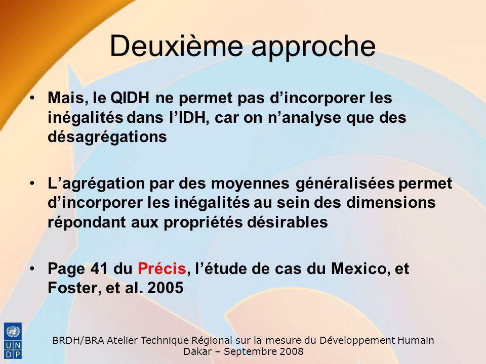 Deuxième approche Mais, le QIDH ne permet pas d'incorporer les inégalités dans l'IDH, car on n'analyse que des désagrégations.