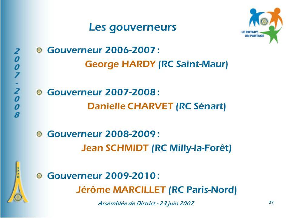 Les gouverneurs Gouverneur 2006-2007 : George HARDY (RC Saint-Maur)