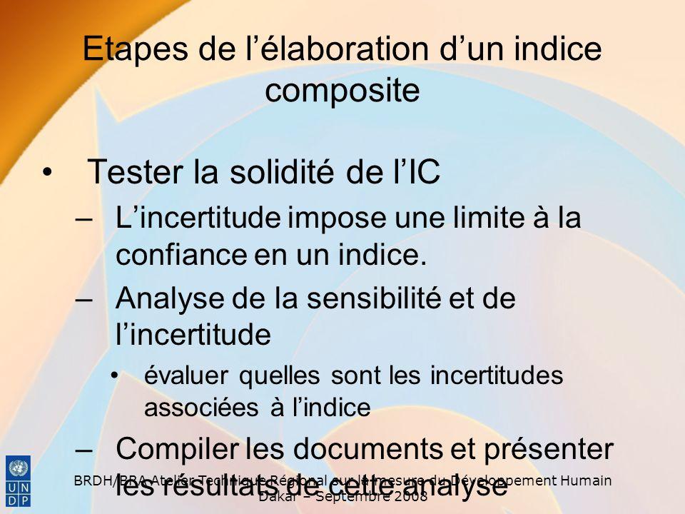 Etapes de l'élaboration d'un indice composite