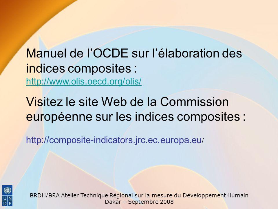 Manuel de l'OCDE sur l'élaboration des indices composites : http://www