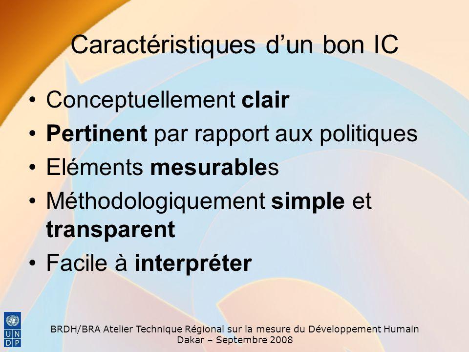 Caractéristiques d'un bon IC