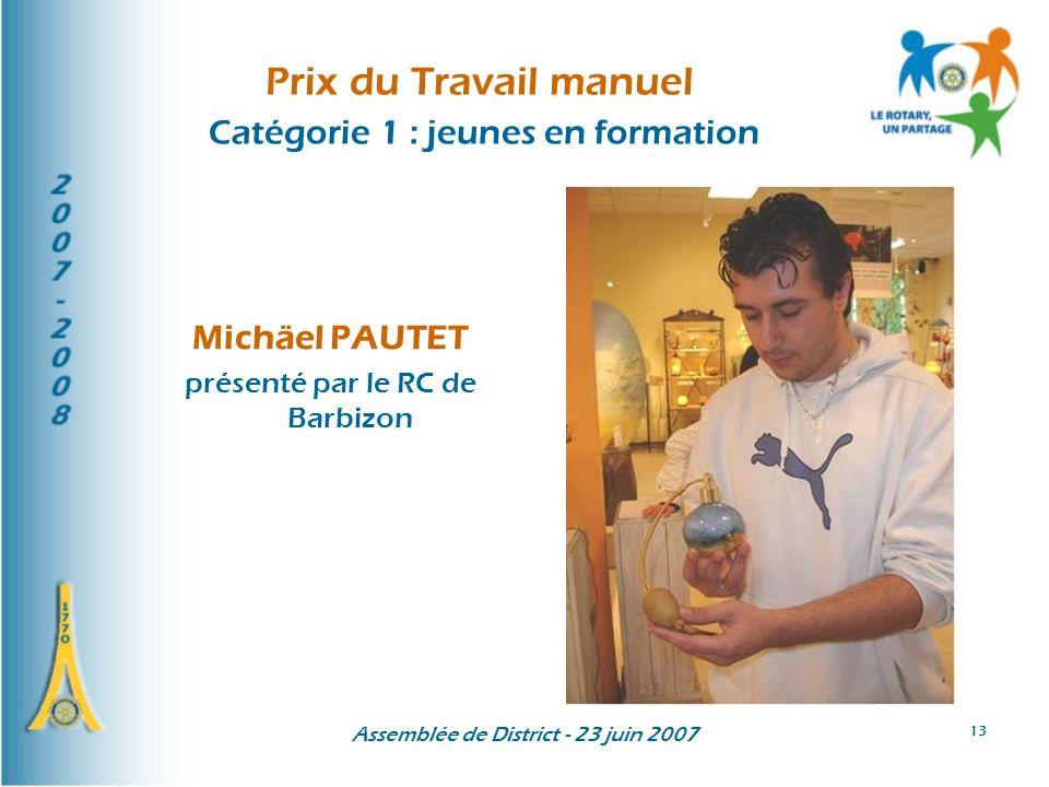 Prix du Travail manuel Catégorie 1 : jeunes en formation