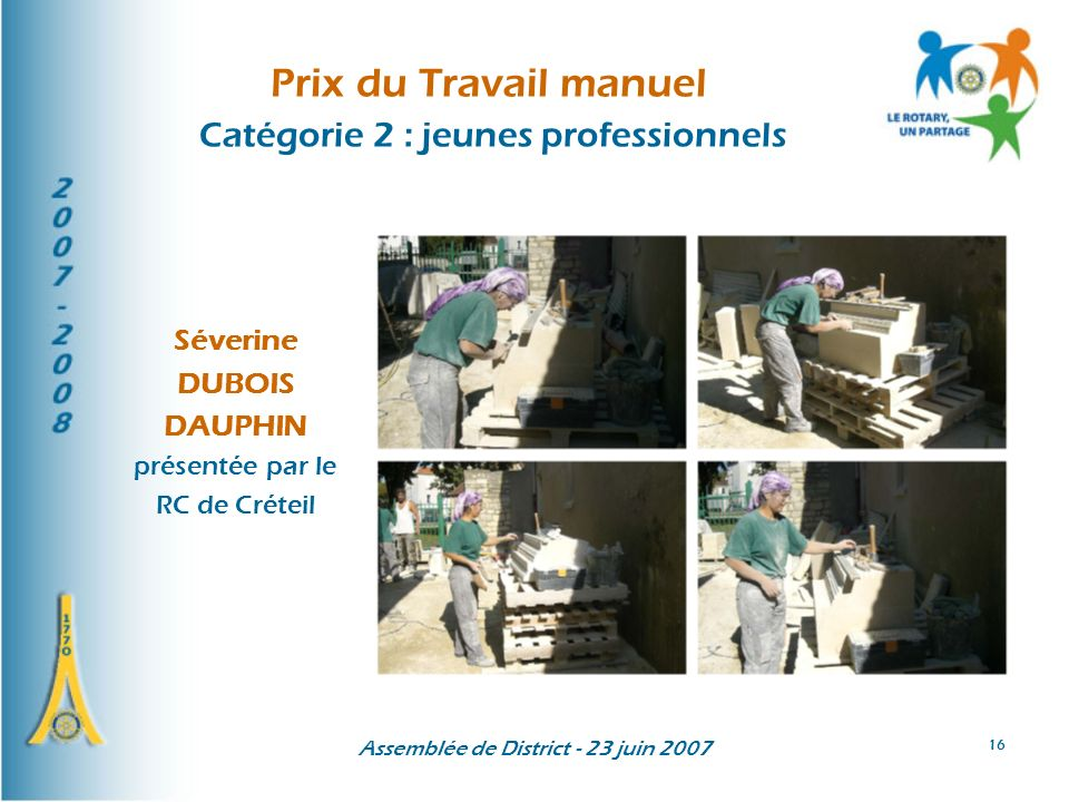 Prix du Travail manuel Catégorie 2 : jeunes professionnels