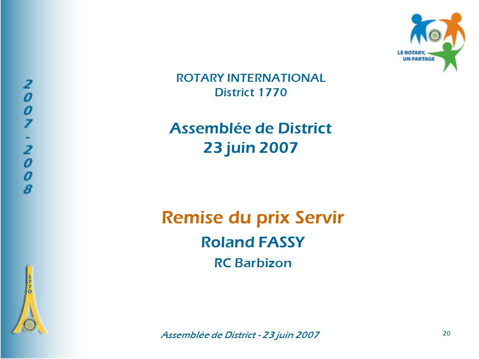 Remise du prix Servir Roland FASSY RC Barbizon