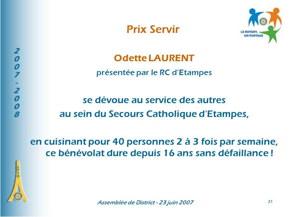 Prix Servir Odette LAURENT se dévoue au service des autres