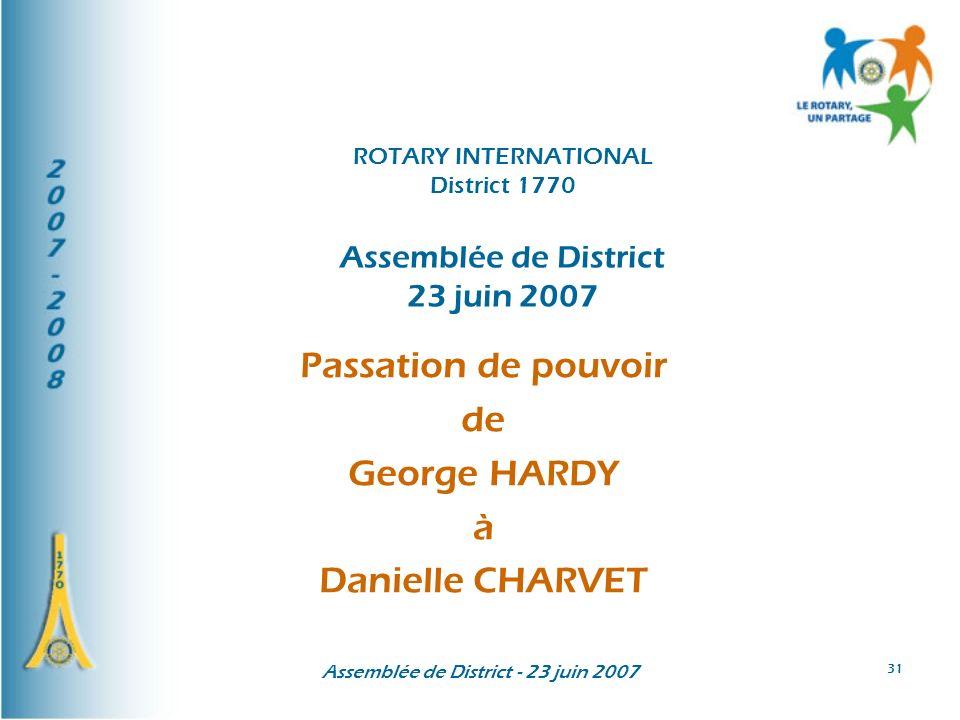 Passation de pouvoir de George HARDY à Danielle CHARVET