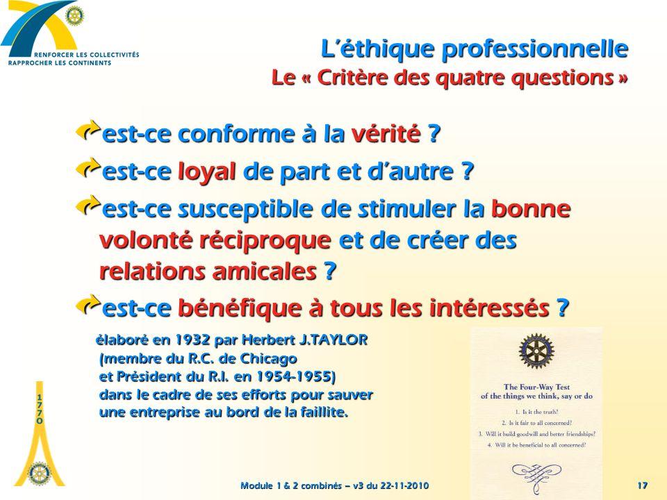 L'éthique professionnelle Le « Critère des quatre questions »