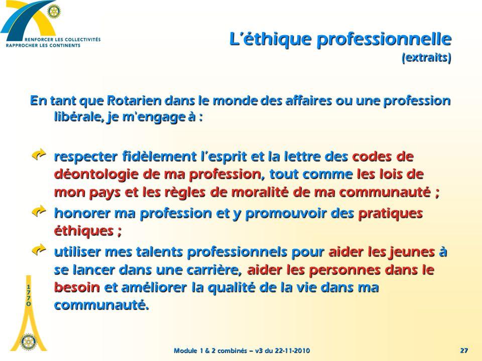 L'éthique professionnelle (extraits)