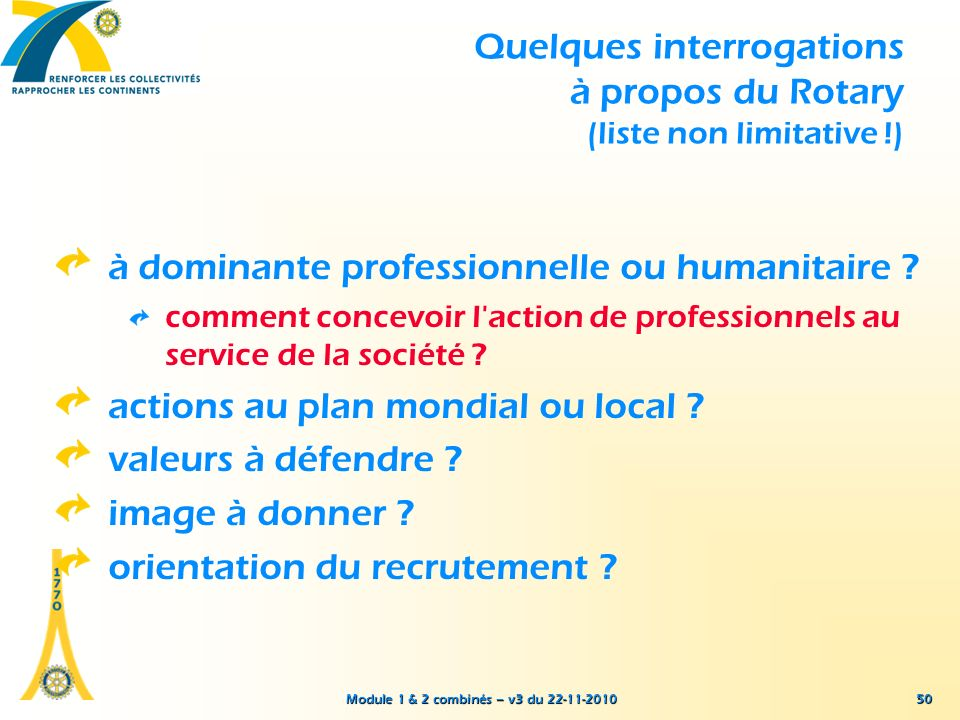 Quelques interrogations à propos du Rotary (liste non limitative !)