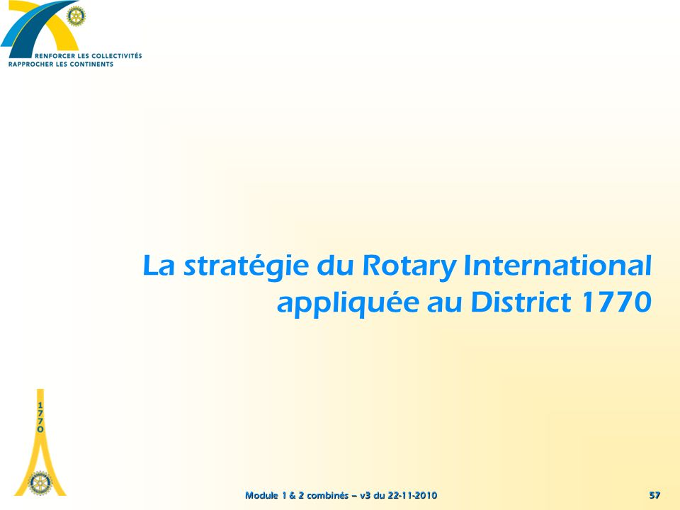 La stratégie du Rotary International appliquée au District 1770