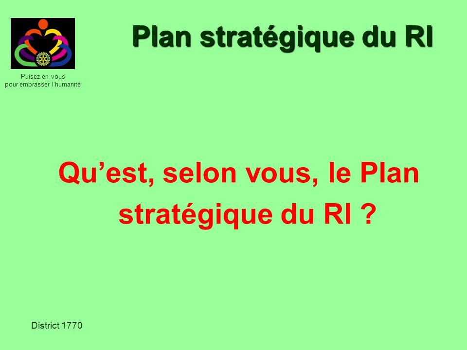 Qu'est, selon vous, le Plan stratégique du RI
