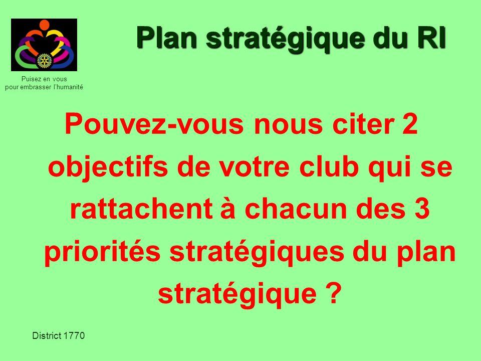 Plan stratégique du RI Pouvez-vous nous citer 2 objectifs de votre club qui se rattachent à chacun des 3 priorités stratégiques du plan stratégique