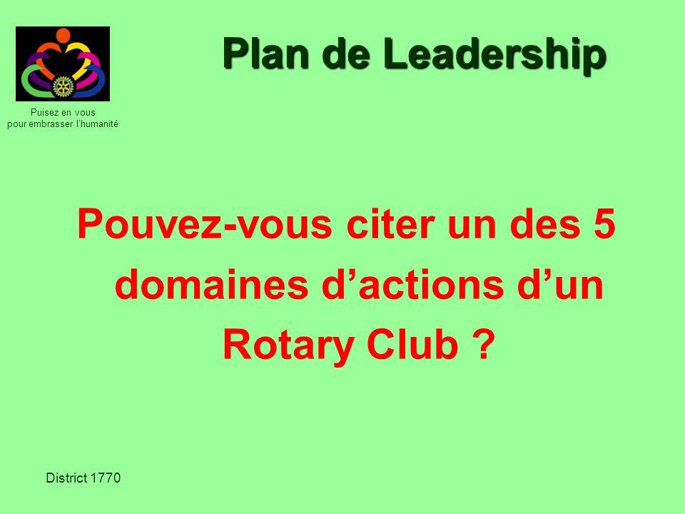Pouvez-vous citer un des 5 domaines d'actions d'un Rotary Club