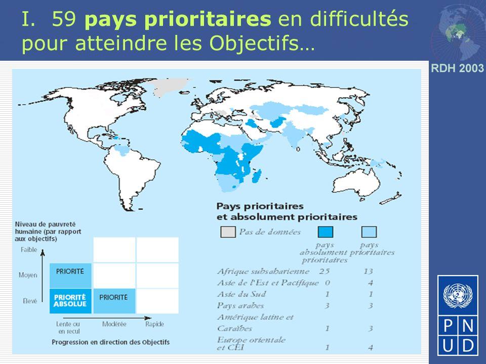 I. 59 pays prioritaires en difficultés pour atteindre les Objectifs…