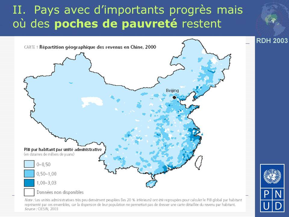 II. Pays avec d'importants progrès mais où des poches de pauvreté restent