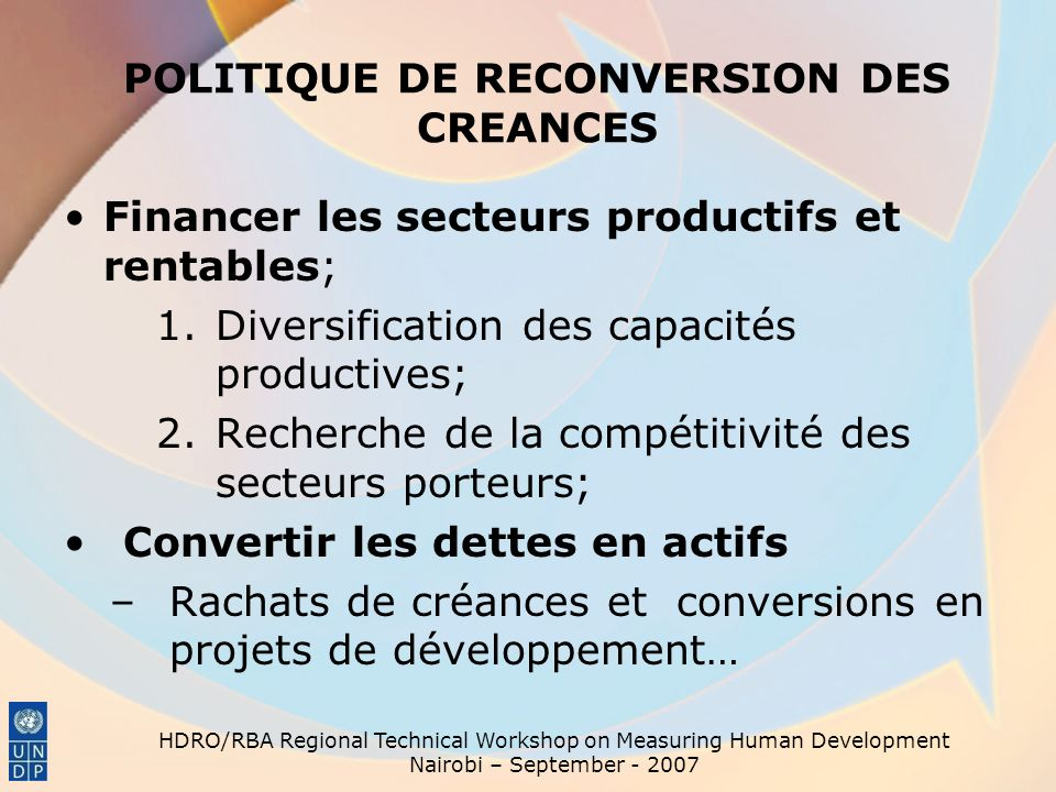 POLITIQUE DE RECONVERSION DES CREANCES