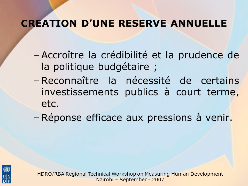 CREATION D'UNE RESERVE ANNUELLE