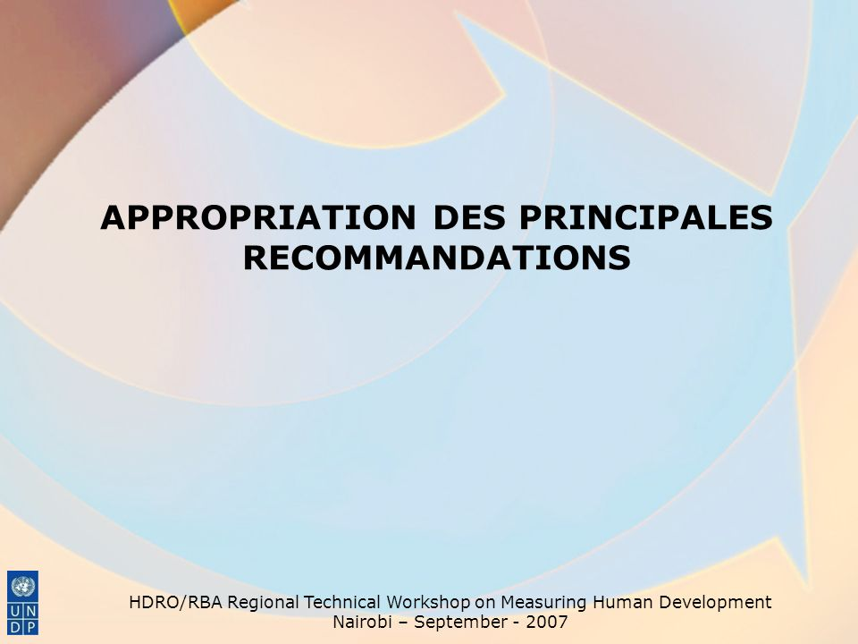 APPROPRIATION DES PRINCIPALES RECOMMANDATIONS
