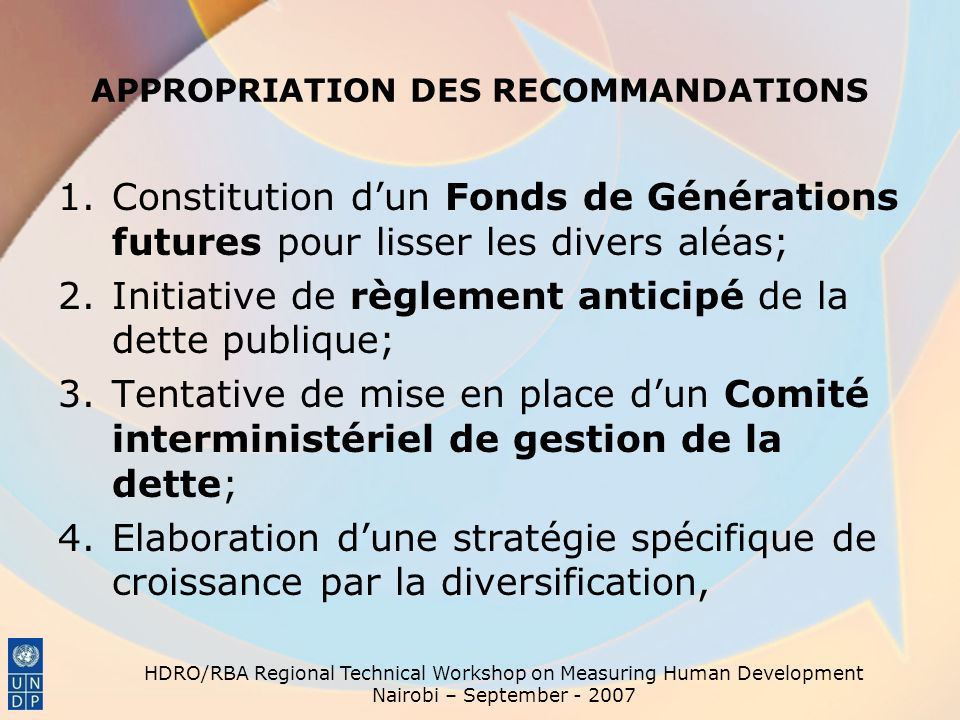 APPROPRIATION DES RECOMMANDATIONS