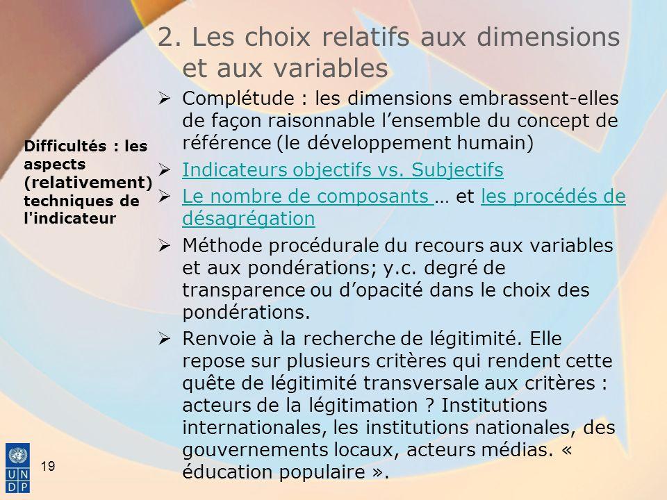 2. Les choix relatifs aux dimensions et aux variables