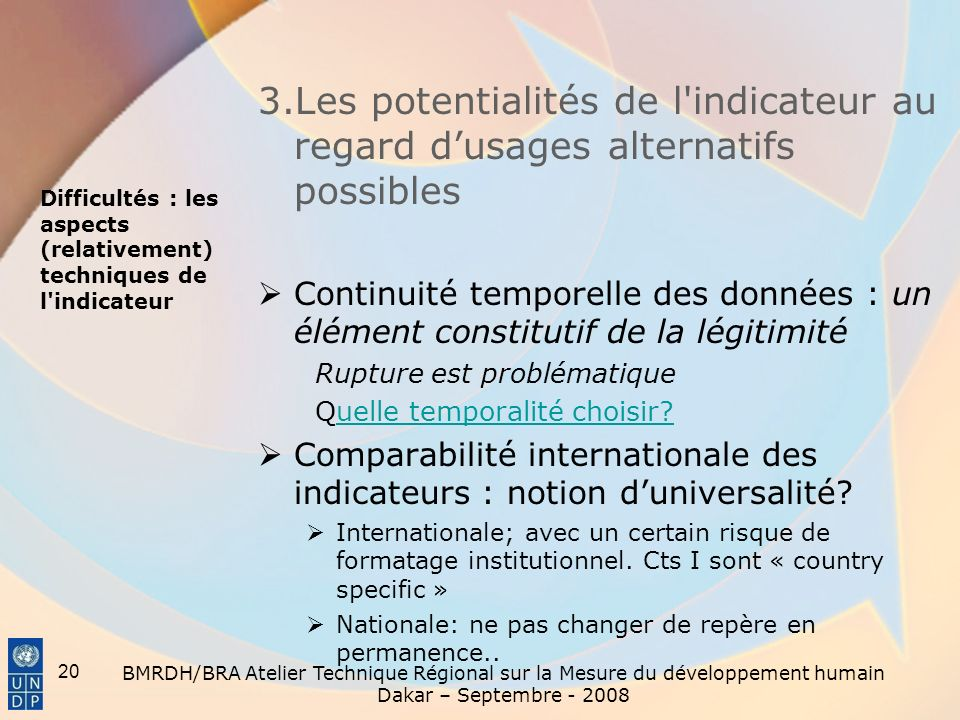 3.Les potentialités de l indicateur au regard d'usages alternatifs possibles
