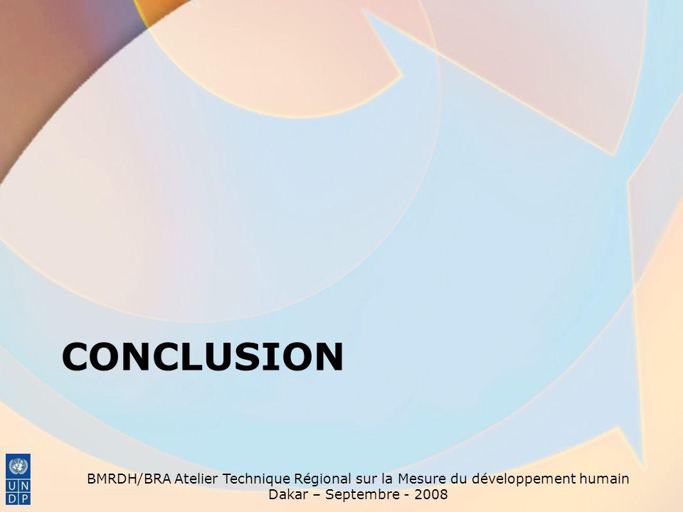 conclusion BMRDH/BRA Atelier Technique Régional sur la Mesure du développement humain.