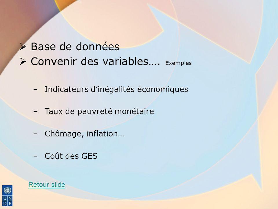 Convenir des variables…. Exemples