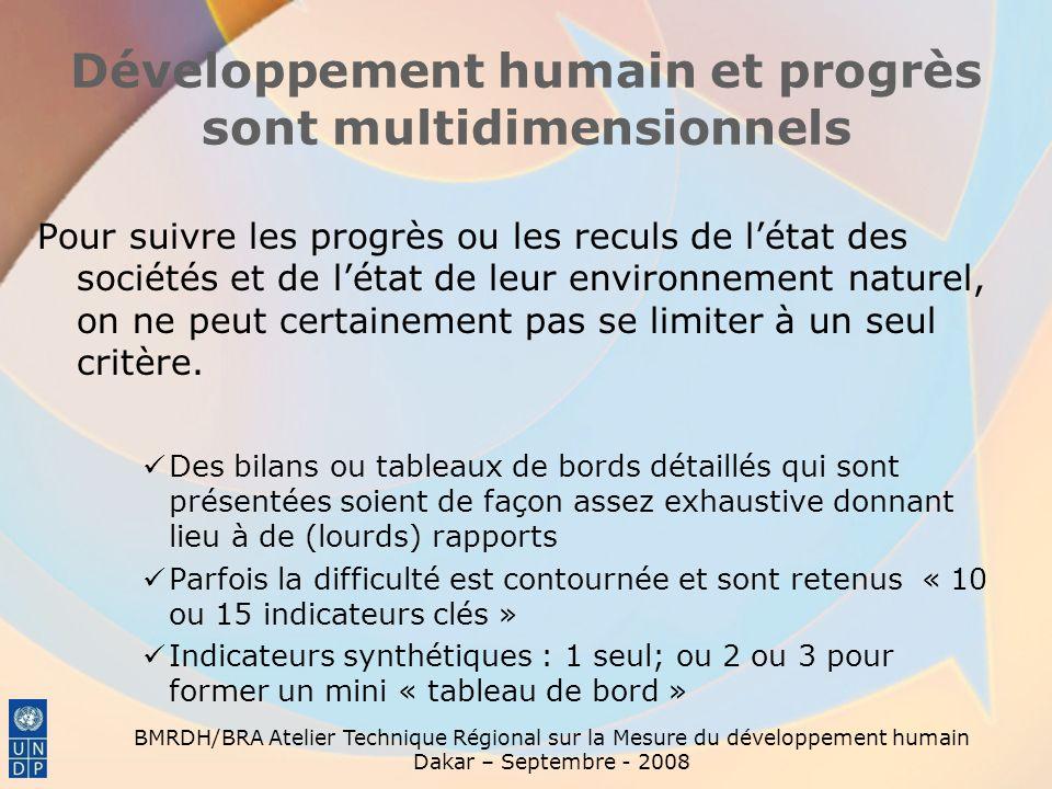 Développement humain et progrès sont multidimensionnels