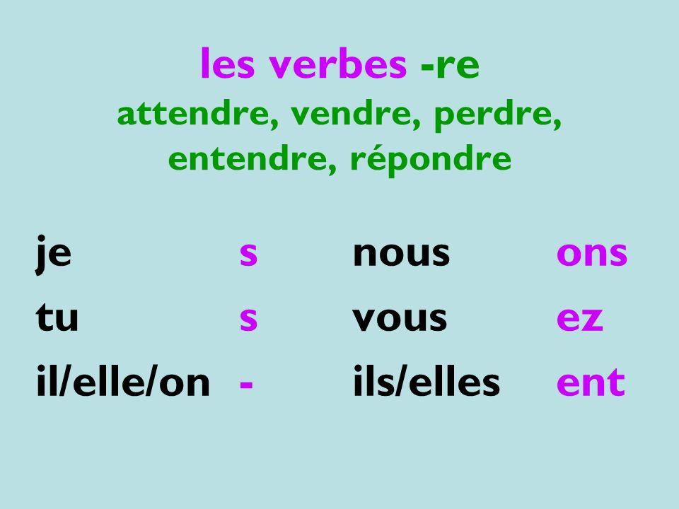les verbes -re attendre, vendre, perdre, entendre, répondre