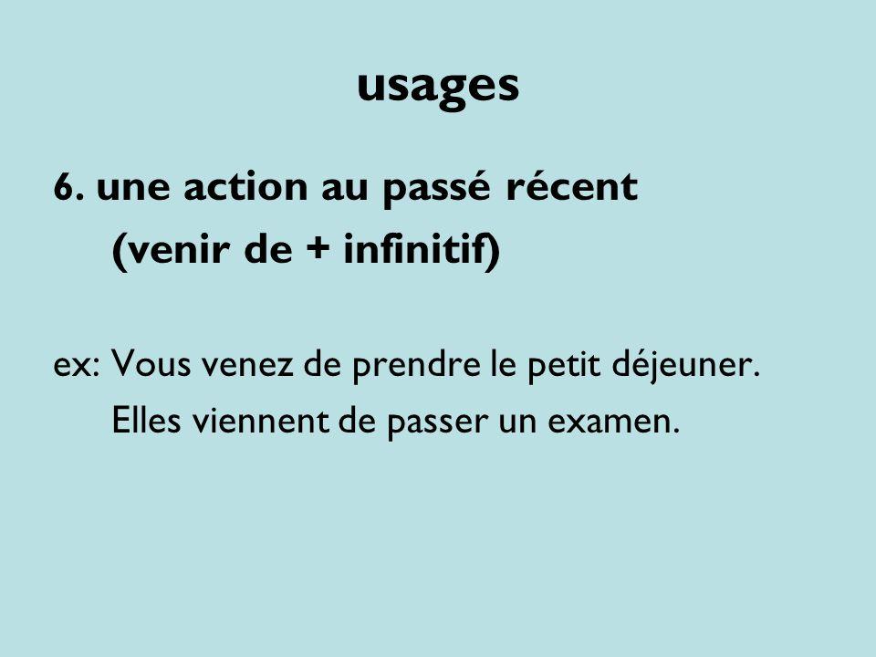usages (venir de + infinitif) 6. une action au passé récent